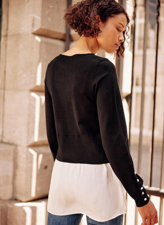 Pearl Detail Fooler Sweater, Black
