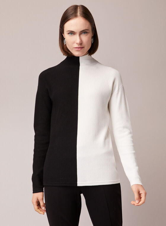Two Tone Mock Neck Sweater, Black