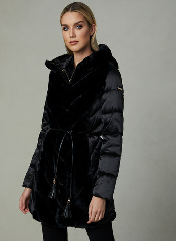 Karl Lagerfeld Paris - Quilted Faux Down Coat, Black, hi-res