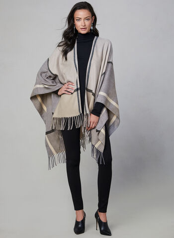 Plaid Print Poncho, Grey,  scarf, pashmina, tartan, acrylic, fall 2019, winter 2019