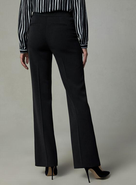 Pantalon pull-on à jambe droite fendue, Noir, hi-res