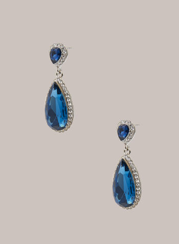 Tiered Teardrop Dangle Earrings, Blue,  earrings, accessories, tiered, teardrop, stone, faceted, crystal, fall winter 2020