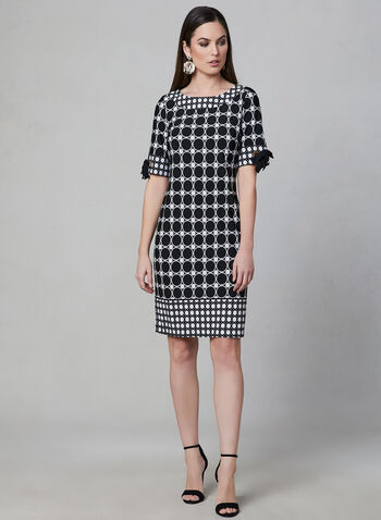 Sandra Darren - Geometric Print Sheath Dress, Black, hi-res,  short sleeves, spring 2019