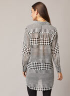 Houndstooth Print Tunic Blouse, Black