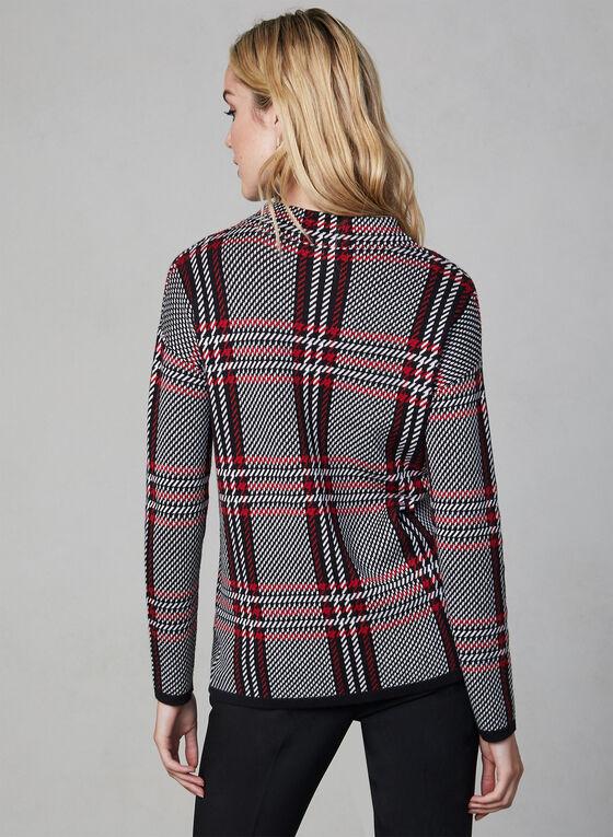 Plaid Print Mock Neck Sweater, Black