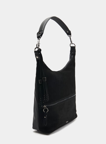 Faux Suede Hobo Bag, Black, hi-res