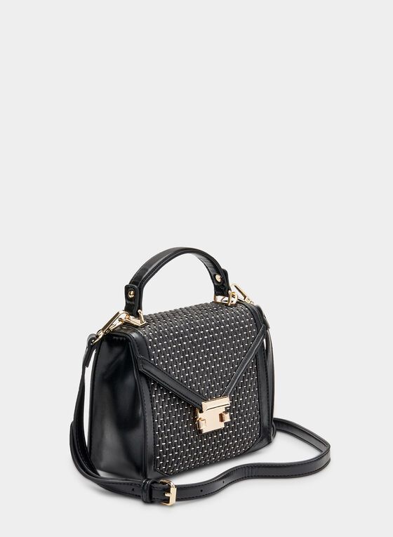 Envelope Flap Handbag, Black, hi-res