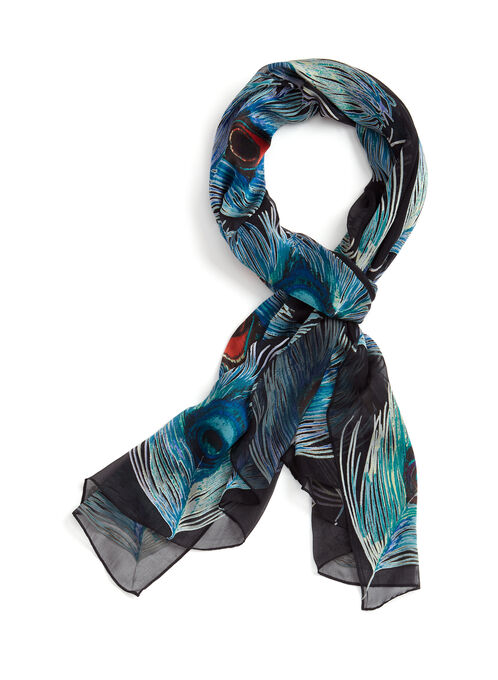Feather Print Lightweight Scarf, Black, hi-res