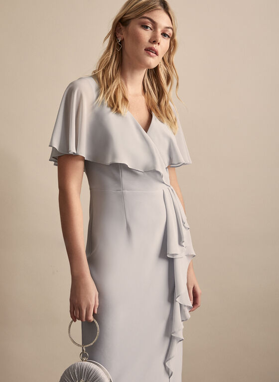 Joseph Ribkoff - Cape Detail Sheath Dress, Grey
