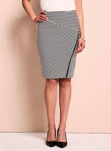 Zipper Trim Pointelle Stripe Skirt, Black, hi-res