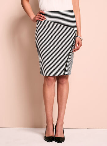 Zipper Trim Pointelle Stripe Skirt, , hi-res