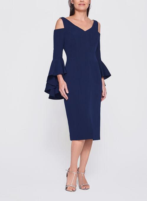 Maggy London - Robe à manches cloche ajourées, Bleu, hi-res
