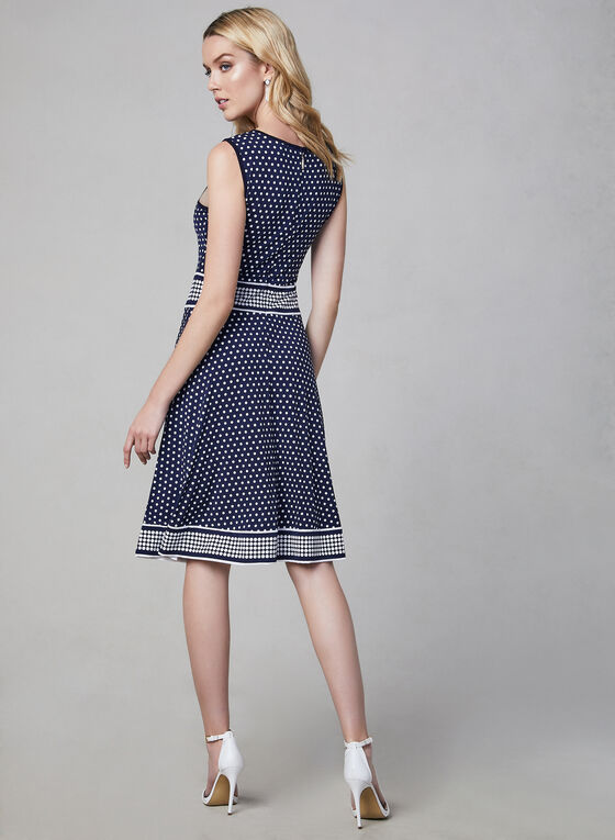 Polka Dot Print Jersey Dress, Blue, hi-res