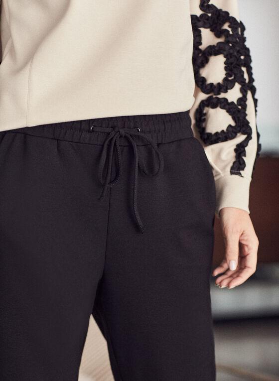 Smocked Detail Jogger Pants, Black