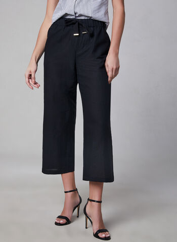 Pull-On Linen Culotte, Black, hi-res