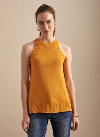 Sleeveless Knit Tank, Yellow,  top, tank, sleeveless, knit, round neck, spring summer 2020