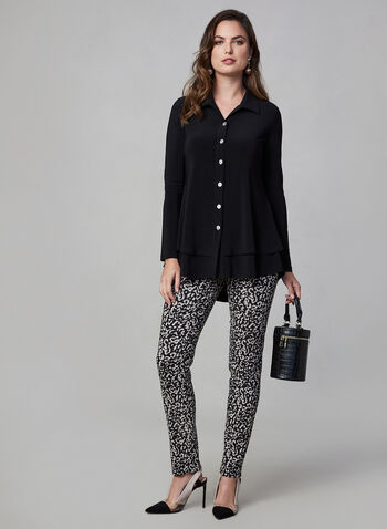 Joseph Ribkoff - Button Front Blouse, Black, hi-res,  canada, Joseph Ribkoff, long sleeves, top, blouse, comfortable top, stretchy top, button down, fall 2019, winter 2019
