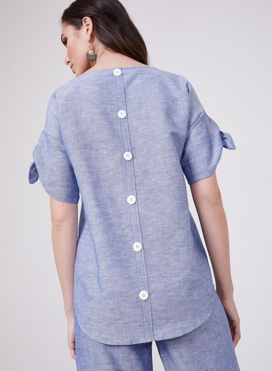 Crossdyed Linen Blend Top, Blue, hi-res