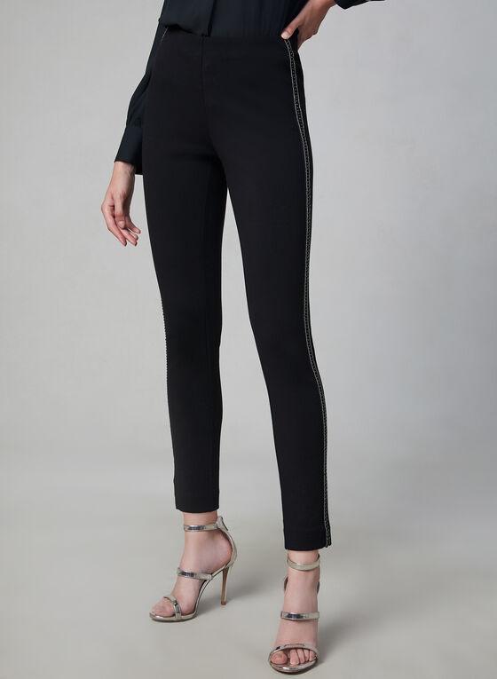 Pantalon à jambe étroite et bande perlée, Noir, hi-res