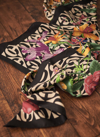 Floral Print Scarf, Multi,  spring summer 2021, scarves, flowery, flowers, faux silk, accessory, accessories