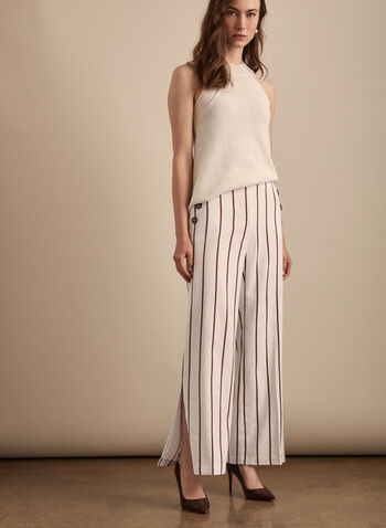 Stripe Print Wide Leg Pants, White,  pants, wide leg, stripe, pull-on, button details, pockets, slit hem, elastic waist, spring summer 2020