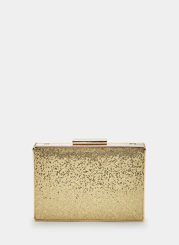Metallic Box Clutch, Gold, hi-res