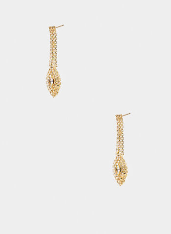 Crystal Dangle Earrings, Gold,  evening jewelry, earrings, crystal, dangle, fall winter 2019