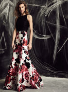 Ignite Evenings - Floral Print Mermaid Dress, Black, hi-res