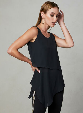 Asymmetrical Sleeveless Blouse, Black, hi-res,  sleeveless, spring 2019, asymmetrical, layered