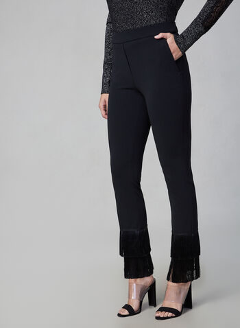 Fringe Slim Leg Pant, Black, hi-res,  fringes, tassels, pants, slim leg, trousers, zipper, fall 2019, winter 2019