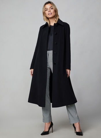 Mallia - Wool Blend Coat, Black, hi-res,  coat, wool, cashmere, long sleeves, discreet pockets, Mallia, fall 2019, winter 2019
