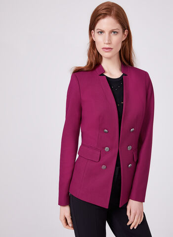Notched Collar Blazer, Red, hi-res