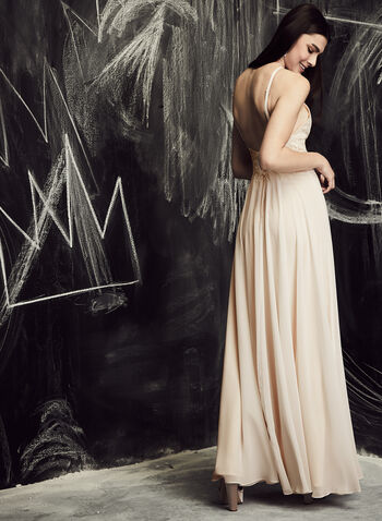 Xscape - Embroidered Chiffon Gown , Off White, hi-res