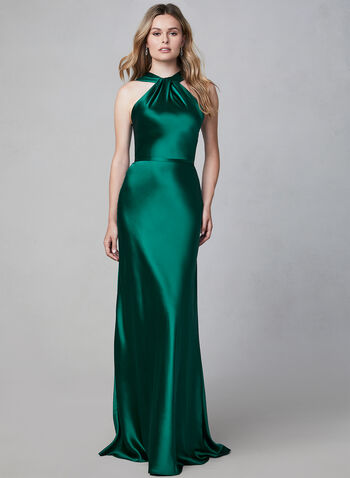 Terani Couture – Sleeveless Satin Gown, Green, hi-res,  evening gown, satin dress, long dress, forest green, dark green satin dress