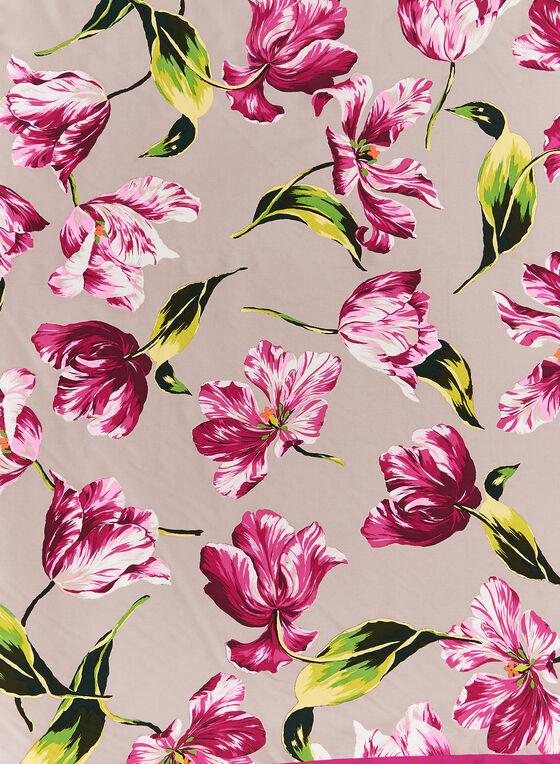Square Tulip Print Silk Scarf, Pink, hi-res