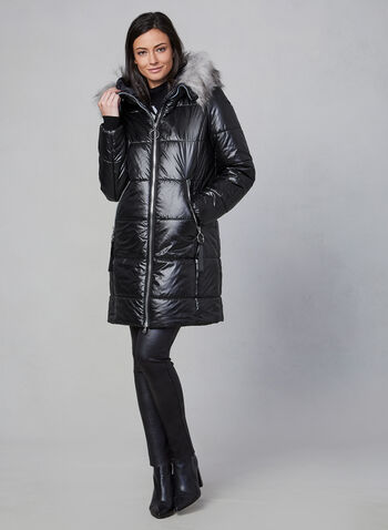Marcona - Faux Fur Quilted Coat , Black, hi-res,  jacket, quilted, faux fur, hood, Marcona, down, fall 2019, winter 2019