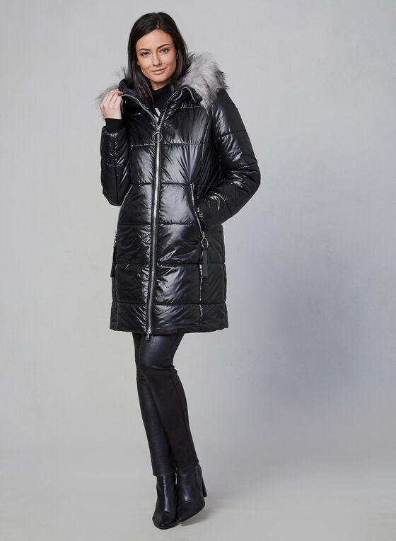 Marcona - Faux Fur Trim Quilted Coat, Black