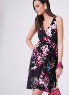 Adrianna Papell - Floral Print Surplice Dress, Black, hi-res