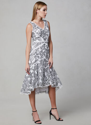 Lace Fit & Flare Dress, Off White, hi-res