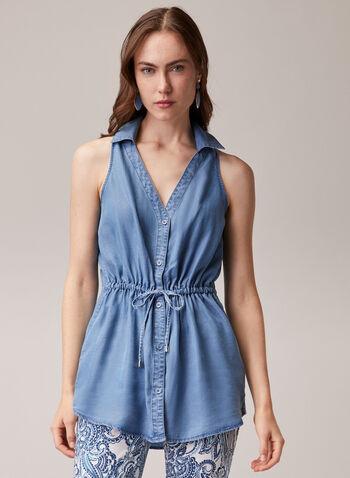 Blouse à col chemisier en tencel, Bleu,  blouse, col chemisier, boutons, sans manches, tencel, printemps été 2020