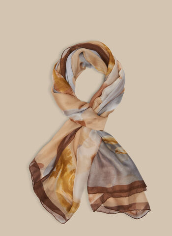 Lightweight Abstract Print Scarf, Off White,