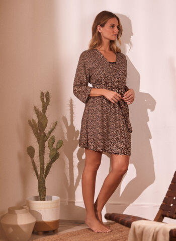 Animal Print Robe & Nightgown Set, Black,  spring summer 2021, sleepwear, nightgown, robe, animal print, leopard print, open front, 3/4 sleeve, tie belt, sash, mid thigh length, above the knee length, spaghetti straps, bow detail, lace