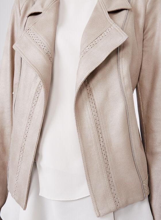 Vex - Faux Leather Zipper Trim Jacket, Grey, hi-res