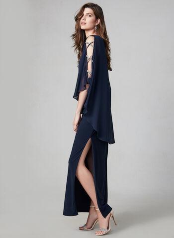 Xscape - Robe poncho à détails strass, Bleu, hi-res,  robe de soirée, poncho, mousseline, strass, jersey, automne hiver 2019