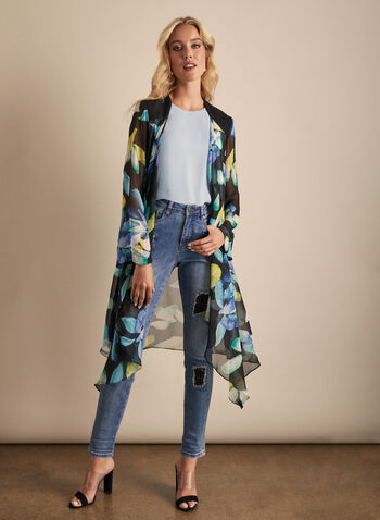 Joseph Ribkoff - Floral Print Open Front Top, Black,  top, open front, floral, chiffon, long sleeves, shoulder pads, asymmetric, spring summer 2020