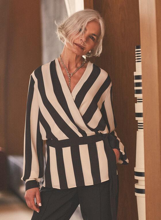 Stripe Print Crossover Tunic, Black
