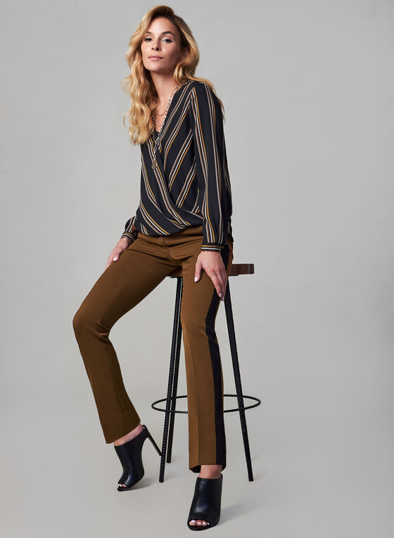 Contrast Trim Pants, Brown, hi-res