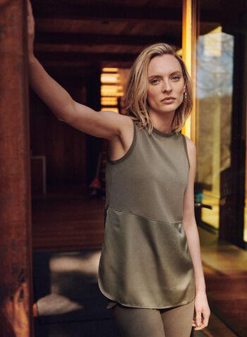 Long Sleeveless Tank Top, Green,  spring summer 2021, top, tank, long, lounge, round neck, sleeveless, rib knit