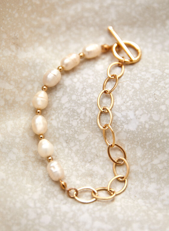 Bracelet à chaîne dorée et perles d'eau douce, Blanc cassé