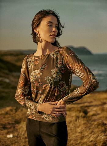 Floral Print Mesh Top, Green,  fall winter 2020, cut & sew, blouse, top, mesh, floral, semi-sheer, sheer, long sleeve, high cuff, long sleeve